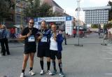 Branislav Galko, Juraj Galko a Peter Káčer v cieli maratónu