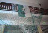 Výzdoba z futbalových sietí korunovaná zástavou Tatranu